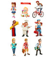 people 3d set cook manager student tourist vector image