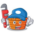 plumber fruit basket character cartoon vector image