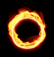 realistic abstract fire ring on black backround vector image
