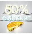 realistic half coin represents discoount vector image vector image