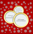 red background with snowflakes in circles in a vector image