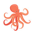 red octopus cartoon flat vector image