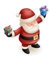 santa claus grandfather frost hold gift box cute vector image vector image