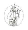 scottish bagpiper doodle art vector image vector image