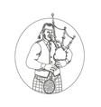 Scottish bagpiper doodle art