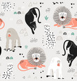 seamless jungle pattern with african animals vector image vector image