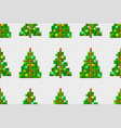 seamless pattern of pixel art christmas tree vector image