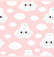 seamless pattern white bear face holding cloud vector image vector image