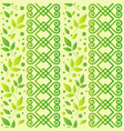 seamless pattern with ornament leaves and dots in vector image