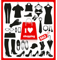 Shoping background set vector image