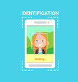 smart phone loading face identification system vector image vector image