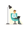 smiling man sitting on an armchair and working vector image vector image