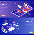 social network and networking landing pages vector image vector image