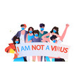 stop asian hate people in masks holding banners vector image vector image