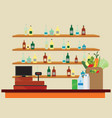 supermarket interior with cashier counter vector image vector image