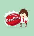 tired businessman punching deadline content with vector image vector image
