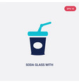 two color soda glass with a straw icon from vector image vector image