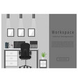 web design banner of modern office workspace vector image vector image