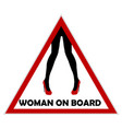 woman on board driving sign vector image vector image