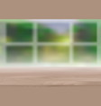 wood table top on blur natural green background vector image
