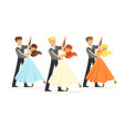 couples of professional ballroom dancers vector image