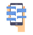 hand holds smart phone with messenger app flat vector image