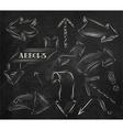 Arrow stylized drawing in chalk on the blackboard vector image