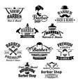 barber shop beard mustaches scissors icons vector image vector image
