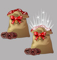brown magic pouch with a gift for christmas or new vector image vector image