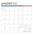 Calendar Planner Template for August 2017 Week vector image vector image