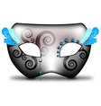 Carnival mask with ice blue feathers vector image