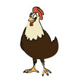 cartoon hen bird farm domestic animal vector image vector image