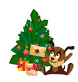 christmas card with a dog sitting in front of tree vector image