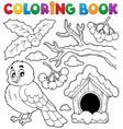 coloring book winter bird theme 1 vector image vector image