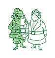 couple mr and mrs claus christmas celebration vector image vector image