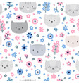cute background kids seamless pattern with cats vector image vector image