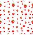 cute strawberry and heart seamless pattern vector image