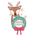deer and garland with flowers and ribbon bow vector image