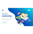 digital marketing isometric concept vector image vector image
