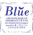 font crosshatch pen line blue vector image vector image