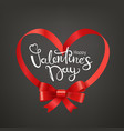 happy valentines day holiday card frame with red vector image vector image