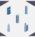 isometric construction set of building skyscraper vector image vector image