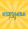 kizomba party logotype yellow rays background vector image