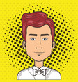 man face in a cartoon pop art comic style vector image