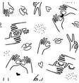monochrome trendy line style pattern with hands vector image