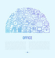 office concept in half circle with thin line icons vector image vector image
