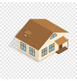 one storey house with porch isometric icon vector image vector image