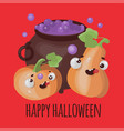 pumpkin and cauldron halloween cartoon vector image vector image