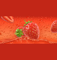 Red drops strawberry 3d realistic