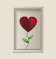 red rose look like heart shape in the frame vector image